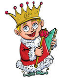 Cartoon of boy who is king with a crown Stock Images