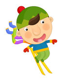 Cartoon boy in winter Royalty Free Stock Image