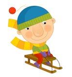 Cartoon boy in winter Stock Photos