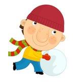 Cartoon boy in winter Royalty Free Stock Photography