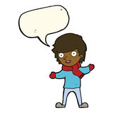 Cartoon boy in winter clothes with speech bubble Stock Image