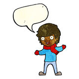 Cartoon boy in winter clothes with speech bubble Royalty Free Stock Photos
