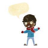 Cartoon boy in winter clothes with speech bubble Stock Photo