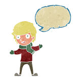 Cartoon boy in winter clothes with speech bubble Royalty Free Stock Photos