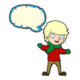 Cartoon boy in winter clothes with speech bubble Royalty Free Stock Images