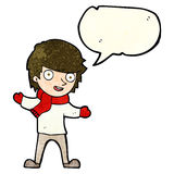 Cartoon boy in winter clothes with speech bubble Stock Images