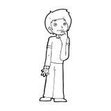 Cartoon boy wondering Stock Images