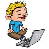 Cartoon of boy working on a laptop Stock Photography