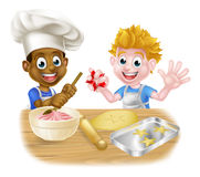 Cartoon Boys Baking Royalty Free Stock Photos