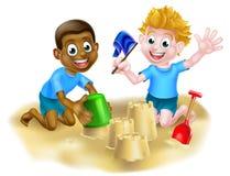 Cartoon Boys on the Beach Royalty Free Stock Images