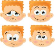 Cartoon boys with funny faces,vector Stock Image