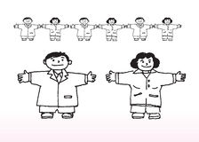 Cartoon boys and girls. Cartoon illustration of happy boys and girls with outstretched arms, white background vector illustration