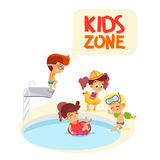 Cartoon boys and girls playing by swimming pool. Royalty Free Stock Images