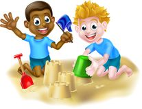 Cartoon Boys Making Sandcastles Royalty Free Stock Image