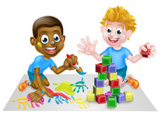 Cartoon Boys Playing With Paint and Blocks Royalty Free Stock Images
