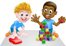 Cartoon Boys Playing With Toys Stock Photos