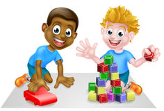 Cartoon Boys Playing. Two cartoon boys playing. One with building blocks and one with a toy car Royalty Free Illustration