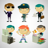 Cartoon boys. Set of 6 cute cartoon boys Royalty Free Stock Photo