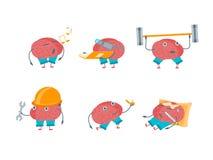 Cartoon Brain Activities Set. Vector Stock Photos