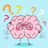 Cartoon brain with amnesia. Cute cartoon brain feel confuse with amnesia stock illustration