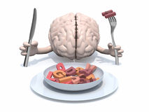 Cartoon brain that eats letters. Human brain with arms, fork and knife in hand in front of plate with many 3d letters Stock Photography