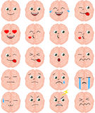 Cartoon brain emoji set Royalty Free Stock Image