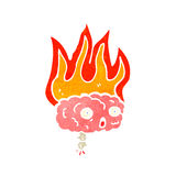 Cartoon brain on fire Royalty Free Stock Photos