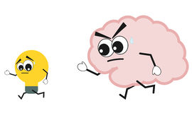 Cartoon brain hunting idea cute funny concept illustration Stock Photos
