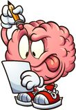 Cartoon brain looking at a piece of paper and thinking