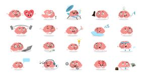 Cartoon brain set. All emotions and situations as exercising and reading, in love and angry Royalty Free Stock Photography