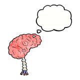 Cartoon brain with thought bubble Royalty Free Stock Photography