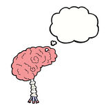 Cartoon brain with thought bubble Royalty Free Stock Photos