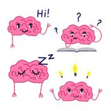 Cartoon brain vector set stock images