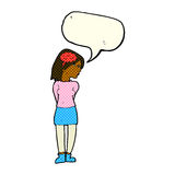 Cartoon brainy woman with speech bubble Stock Images