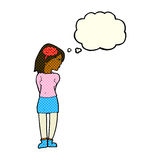 Cartoon brainy woman with thought bubble Stock Photography
