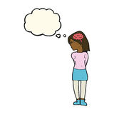 Cartoon brainy woman with thought bubble Royalty Free Stock Photos