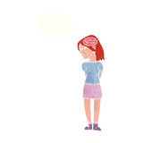 Cartoon brainy woman with thought bubble Stock Images
