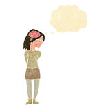Cartoon brainy woman with thought bubble Royalty Free Stock Images