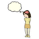 Cartoon brainy woman with thought bubble Stock Photo