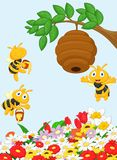 Cartoon a branch of a tree with a beehive and a bee Stock Photos