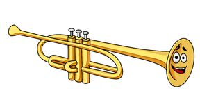 Cartoon brass trumpet Royalty Free Stock Photography