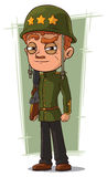 Cartoon brave soldier in green helmet Royalty Free Stock Photos