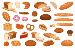 Free Cartoon Bread. Various Sweet Breads And Slices Of Bake Roll, Bakery Product Vector Isolated Cartoon Set Stock Image - 175788131