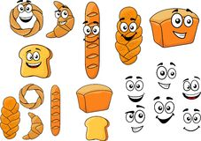 Cartoon breads with happy smiling faces Royalty Free Stock Image
