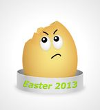 Cartoon break egg boy. Cartoon break egg with face and silver ribbon Royalty Free Stock Photography