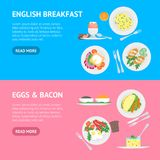 Cartoon Breakfast Banner Horizontal Set Vector. Cartoon Breakfast Banner Horizontal Set Dishs Concept Flat Design Style. Vector illustration of Food Morning Stock Image