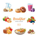 Cartoon breakfast food vector icons set. Cartoon breakfast food icons set. Biscuits and donuts, nuts and berries, vector illustration Royalty Free Stock Photos