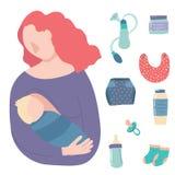 Cartoon Breastfeeding Baby Signs Icon Set. Vector. Cartoon Breastfeeding Baby Signs Icon Set Include of Mother, Newborn, Bottle Milk, Bib and Diaper. Vector vector illustration