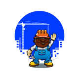 Cartoon bricklayer or builder with trowel Royalty Free Stock Photography