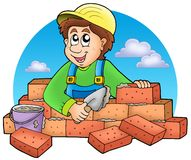 Cartoon bricklayer with clouds Royalty Free Stock Photo